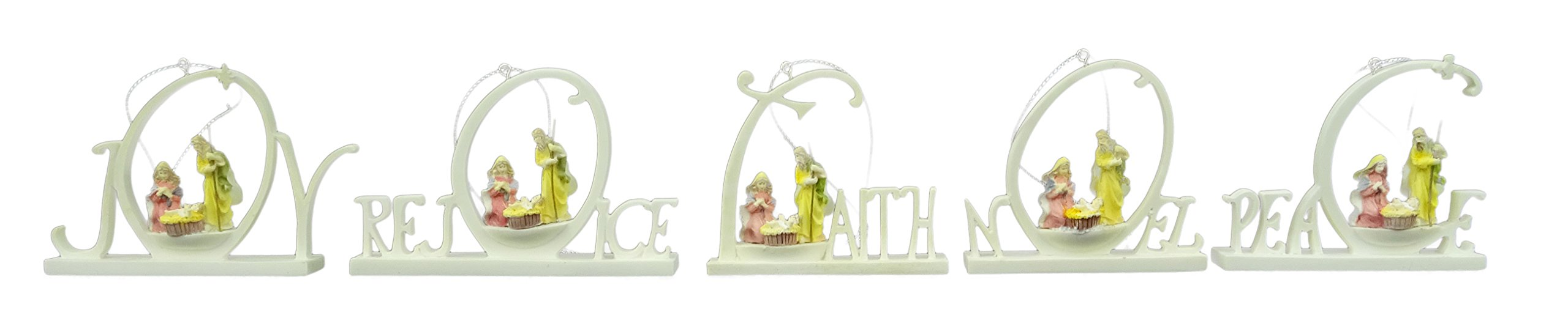 One Pack Of Five Assorted Nativity Tree Trims Featuring Words With Religious Connotations