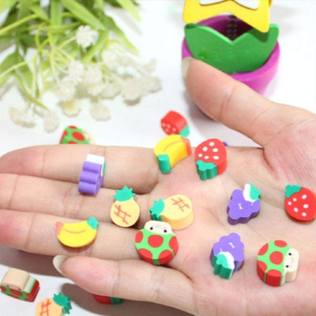100pcs New Novelty Students Children Lovely Colorful Fruit Pencil Rubber Eraser kids Gifts Wholesale and Retail by PPL21 (Image #3)