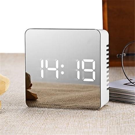 Naisicatar 2018 - Reloj despertador LED con pantalla digital, portátil, moderno, con alarma