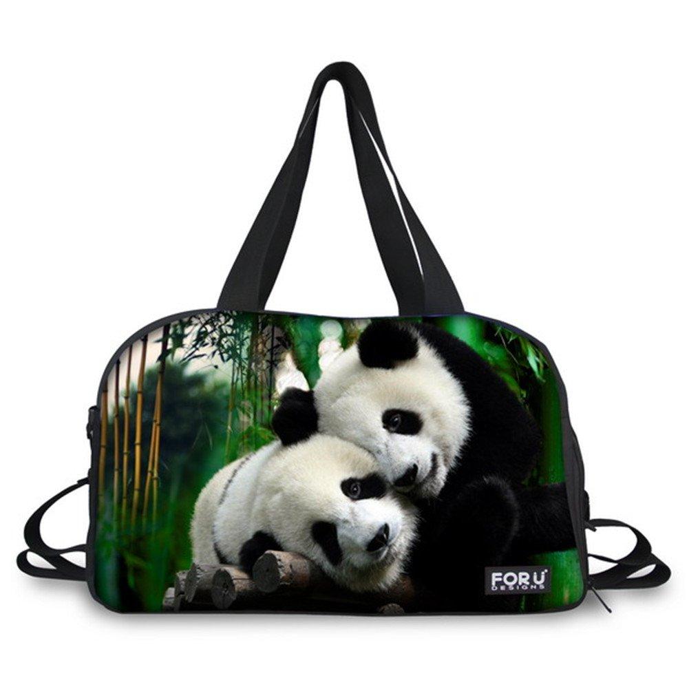 FOR U DESIGNS Classic Black-white Panda Print Canvas Gym Sport Duffel Bag Pack
