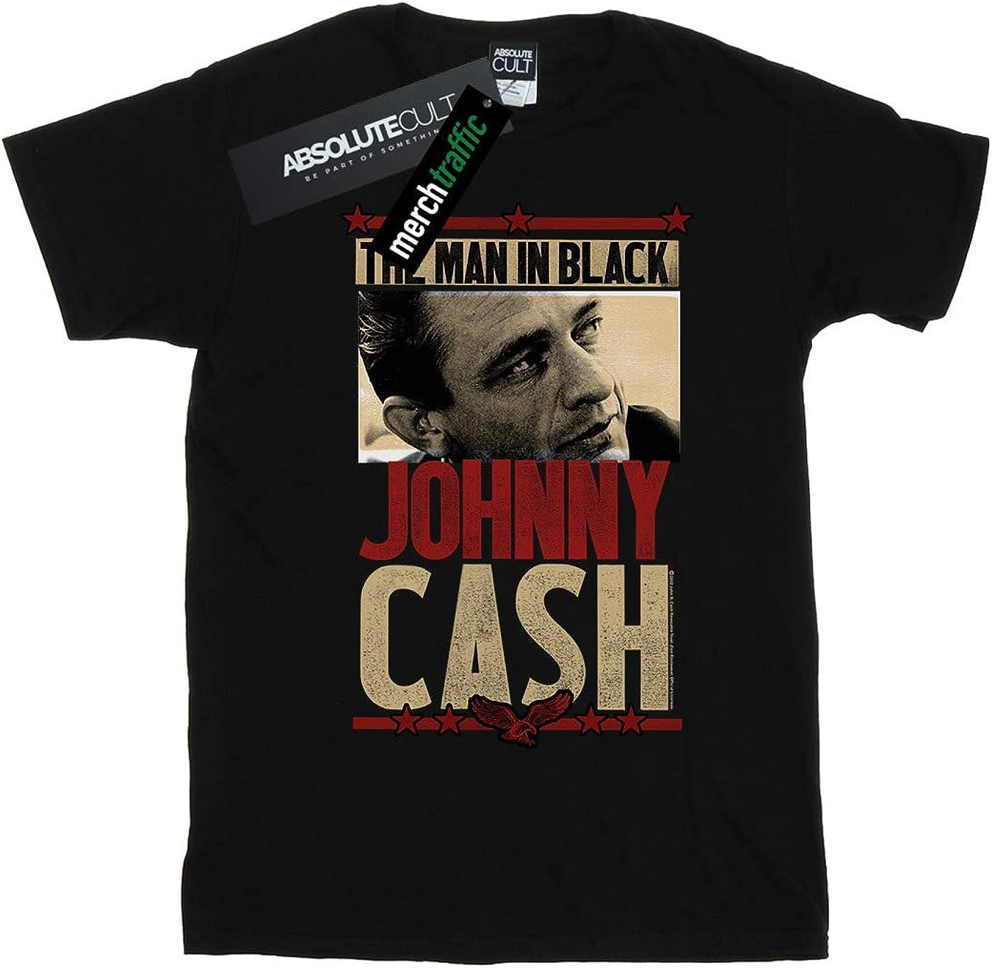 Johnny Cash Boys Man In Black Photo T-Shirt Black 5-6 Years