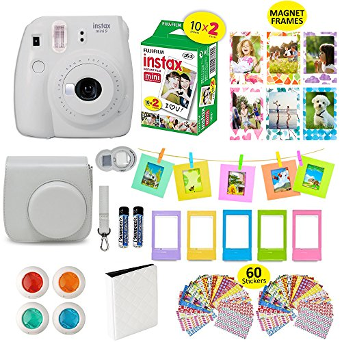 Fujifilm Instax Mini 9 Film Camera SMOKEY WHITE Instant Camera + 20 Instant Film Shots, Instax Case + 14 PC Instax Accessories Bundle, Fuji Instax Mini 9 Kit Gift Box, Albums, Lenses, Magnet - Style Camera Traditional