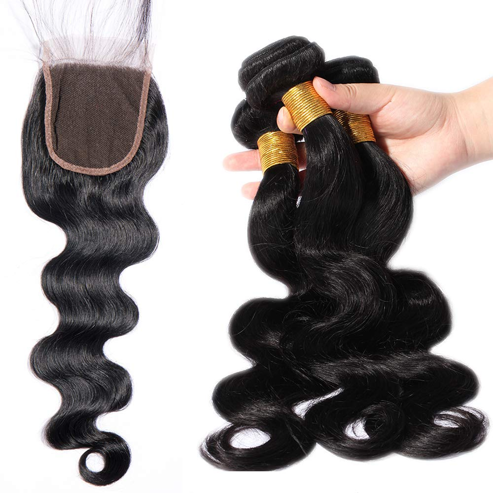12 30cm Capelli Umani con Chiusure 4X4 Body Wave Frontal Closure 100% Remy Human Hair Closure Nero Naturale 30g Lady Outlet Mall