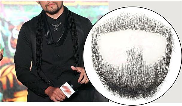 Remeehi perilla de hombre barba pelo humano encaje hecho a mano falso bigote facial disfraz fingir