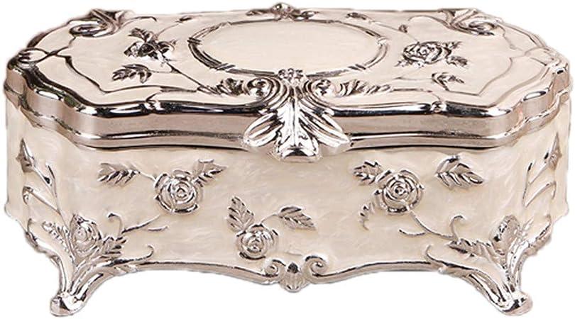 Cajas para joyasde metal vintage,Joyero tallado / Estuche de almacenamiento, Adecuado para el collar del anillo de los pendientes del almacenamiento, Para la joyería casera, Regalo de cumpleaños: Amazon.es: Hogar