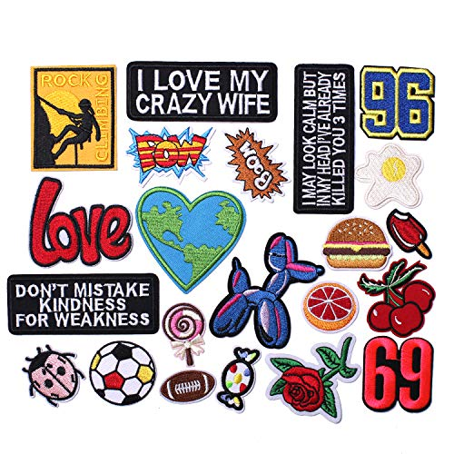 AXEN Assorted Styles Cool Embroidered Iron Patch on Cute Sewing Applique Applique for Jacket Hat Backpack Jeans Sewing Flowers Applique DIY Accessory (22PCS)