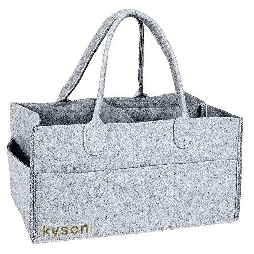 Kyson Diaper Caddy Nursery Storage Bin Felt Basket Diapers Organizer Baby Wipes Bag , Changeable Compartments, Grey (Wicker Baby Cribs)