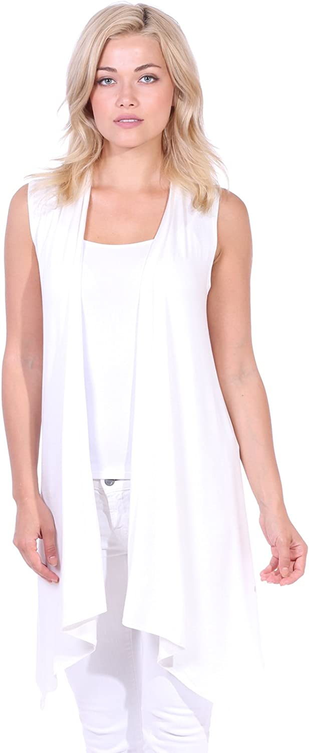 Popana Women/'s Casual Sleeveless Long Duster Cardigan Vest Plus Size Made in USA