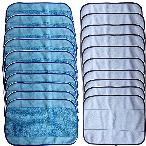 20-Pack Mixed Microfiber Mopping Cloths 10 wet + 10 dry for iRobot Braava 380 380t 320 Mint 4200 4205 5200 5200C Robot