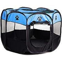 Folding Fabric Pet Play Pen Puppy Dog Cat Rabbit Guinea Pig Playpen Run Cage 8-Side Foldable Pop Up Tent Portable Durable (M, Blue)