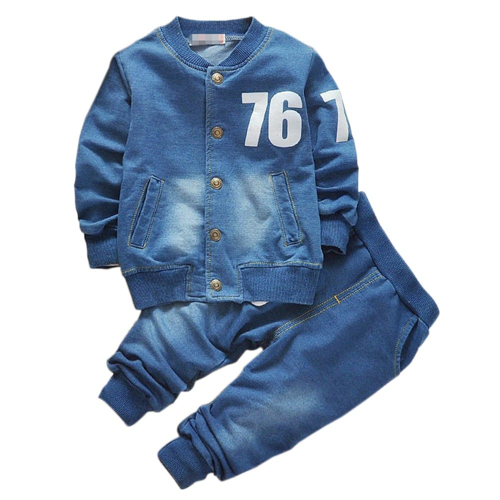 BOBORA Baby Boys Outfits Long Sleeve Denim Coat and Jeans Clothes Set BON-N-1925