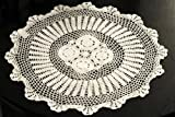 Handmade Crochet Lace Centerpiece Doily. 24 Inch Round. White Color.