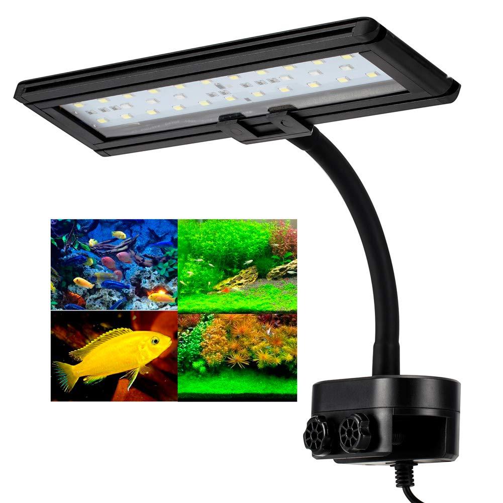 30 LED, clip 0.98 pollici Hygger Aquarium Fish Tank Light, LED bian  e blu, Clip on Led Clamp Light for Aquarium Lighting, con Clip regolabile Neck flessibile (30 LED, Clip 0.98 cm)