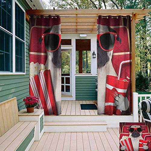 leinuoyi Pug, Outdoor Curtain Pole, Funny Dog Watching Movie Popcorn Soft Drink and Glasses Animal Photograph Print, Fabric by The Yard W96 x L108 Inch Red Cream Ruby ()