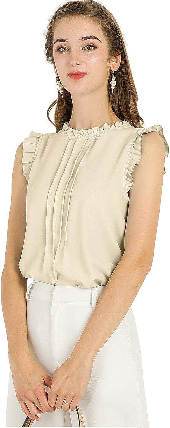 Allegra K Women's Ruffled Blouse Business Office Vintage Sleeveless Blouses Top