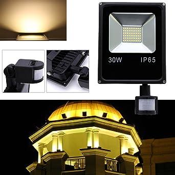 Hengda® 30W Blanco Cálido Foco proyector Exterior LED detección de ...