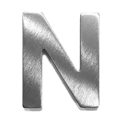 Metal de letra N, cepillado acero inoxidable - Altura de 4 ...