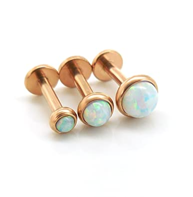 32156b5f3 Image Unavailable. Image not available for. Color: Emmajewels Triple  Forward Helix Fire & Ice Opal Tragus Jewelry 316L Rose Gold Plated Cartilage  Earring