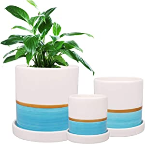Flower Pots, Ufrount Ceramic Planter Pot with Drainage Holes, Succulent Planter Pots Planting Pot Flower Pots for Mini Plant Perfect for Garden, Kitchen, Windowsill - Set of 3 (Blue)