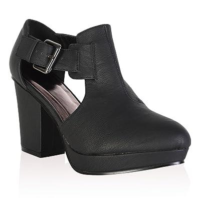 premium selection edbcf 7ceed 97S Womens Black PU Ladies Cut Out Block Heel Chelsea Ankle ...