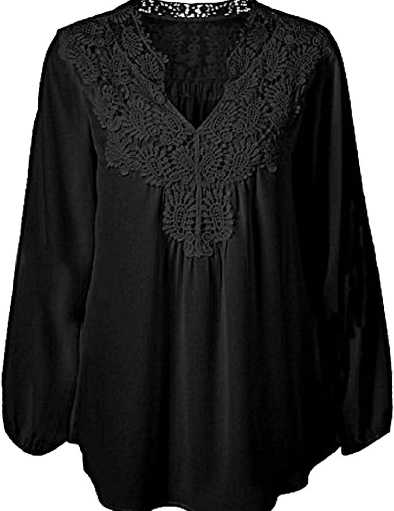 99af2904dc7 US Size Women's Spring Plus Size Chiffon Lace Hollow Out Long Sleeve  Patchwork Tops Blouse Shirts