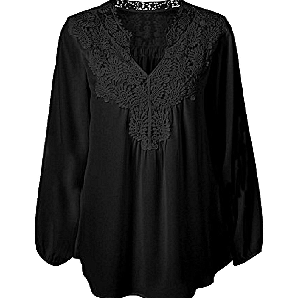 Victorian Blouses, Tops, Shirts, Sweaters US Size Womens Spring Plus Size Chiffon Lace Hollow Out Long Sleeve Patchwork Tops Blouse Shirts $18.99 AT vintagedancer.com