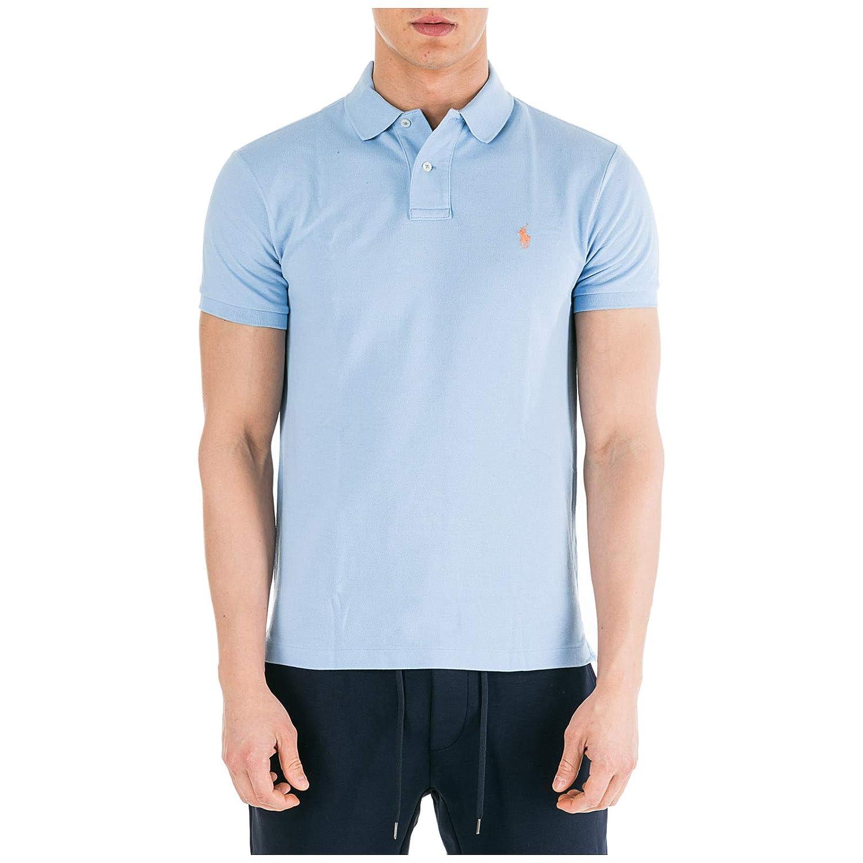 Bleu XXL Ralph Lauren Polo Bleu Ciel Logo Orange Slim fit en piqué pour Homme