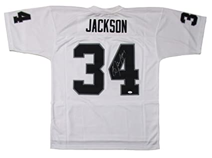 d95fe95a9 Image Unavailable. Image not available for. Color: Bo Jackson Signed  Oakland Raiders Replica Mitchell & Ness White Jersey ...