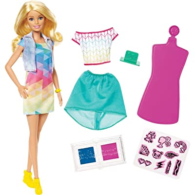 Barbie Crayola Color Stamp Fashions Set with Blonde Barbie Doll and Design Materials, Diy Doll Clothes for Barbie, Doll, 15+ Pieces: Toys & Games