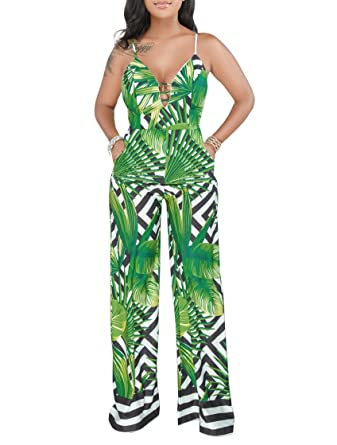 cfdb6a70d6 Amazon.com  Women s Jumpsuits Floral Tropical Printed Strap Wide Leg Long  Pants Jumpsuits Rompers  Clothing