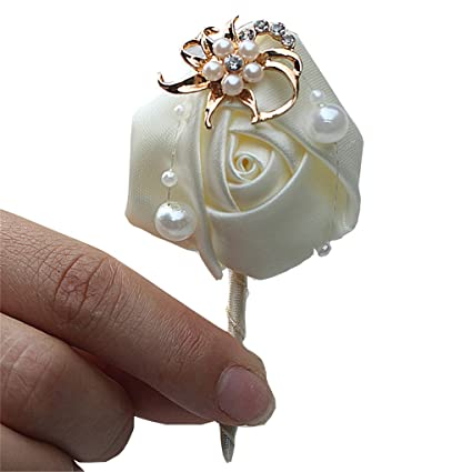 6956147a0b8 Amazon.com: KUPARK 4pcs Ribbon Rose Wedding Flower Boutonniere Gold Crystal  Groom Groomsman Best Man Pearl Beaded Brooch Pins: Home & Kitchen