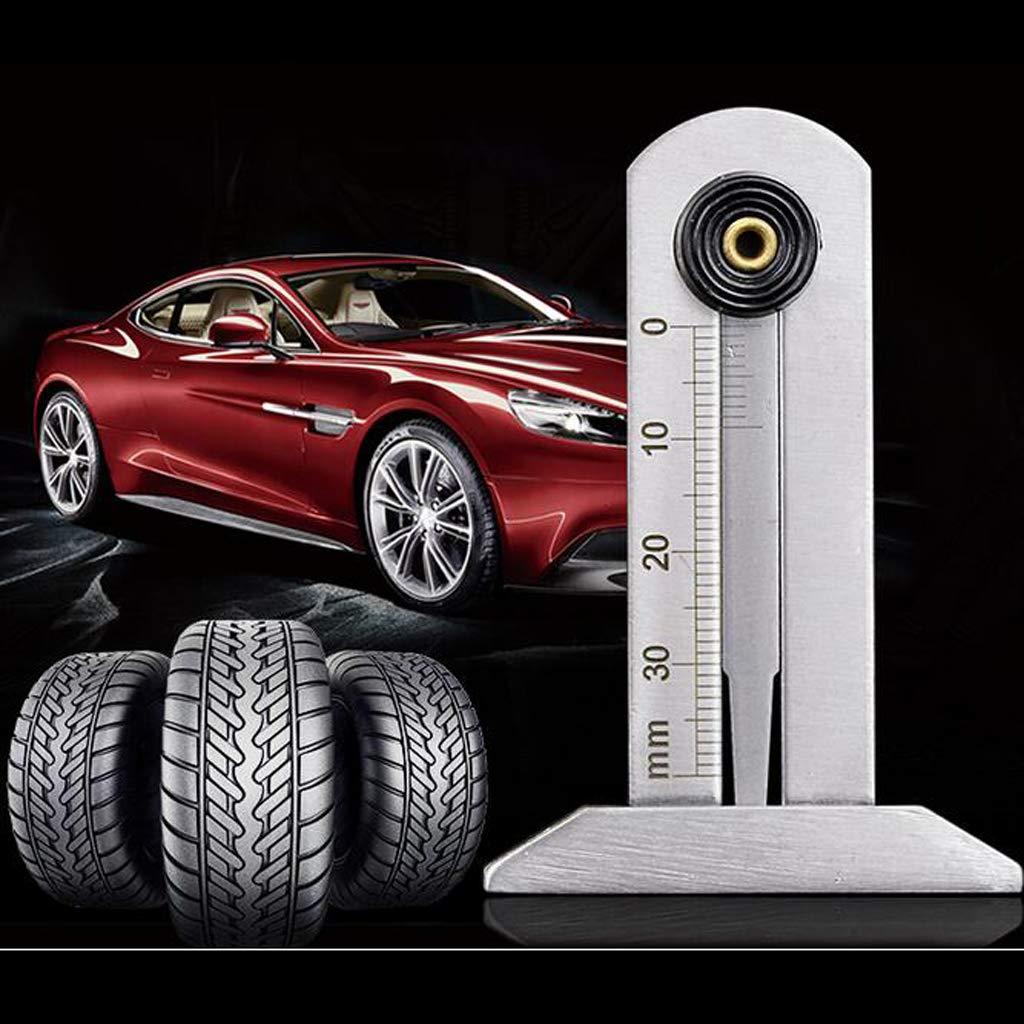 Fityle Stainless Steel Tyre Depth Gauge Tread Depth Gauge Keyring Tread Ruler 0-30mm
