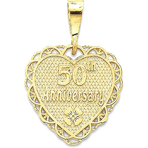 14k Gold 50th Anniversary Reversible Medallion Charm Pendant - (Yellow Gold, 1.13 Inch Height) by Jewel Tie