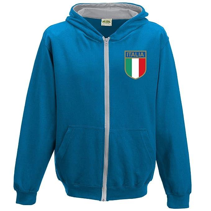 Kids Retro Rugby de Italia con cremallera Sudadera con capucha: Amazon.es: Ropa y accesorios