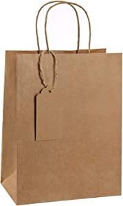 BagDream Kraft Paper Gift Bags with Handles Bulk 50 Pcs 8x4.25x10.5 Inches Brown Paper Bags with Gift Tags, Kraft Bags, Retail Bags Heavy Duty Gift Bags