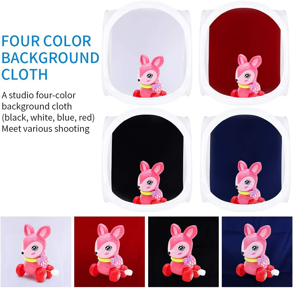 Black White Red Blue Kshioe Photo Studio Shooting Tent Light Cube Diffusion Soft Box Kit with 4 Colors Backdrops 16inx16in