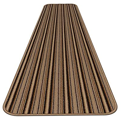 Skid-resistant Carpet Runner - Mocha Brown Stripe - Many Other Sizes to Choose From