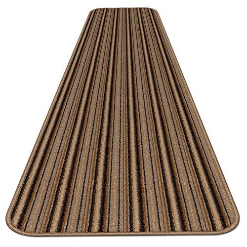 Skid-resistant Carpet Runner - Mocha Brown Stripe - 6 Ft. X