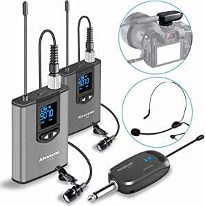 Wireless Headset Lavalier Microphone System -Alvoxcon Dual Wireless Lapel Mic for IPhone, DSLR Camera, PA Speaker, Youtube, Podcast, Video Recording, Conference, Vlogging, Church, Interview, Teaching