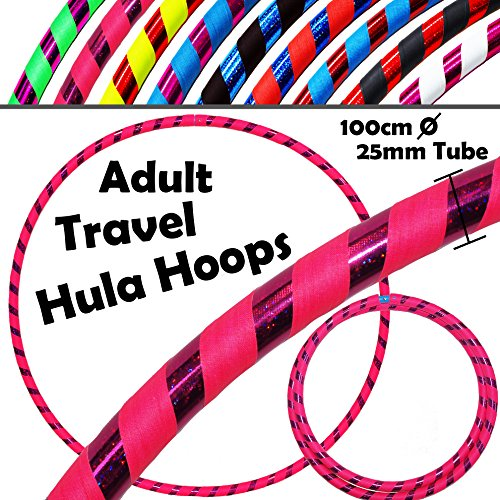 PRO Hula Hoops (Ultra-Grip/Glitter Deco) Weighted TRAVEL Hula Hoop (100cm/39') Hula Hoops For Exercise, Dance & Fitness! (640g) NO Instructions Needed - Same Day Dispatch! (Pink / Purple Glitter)