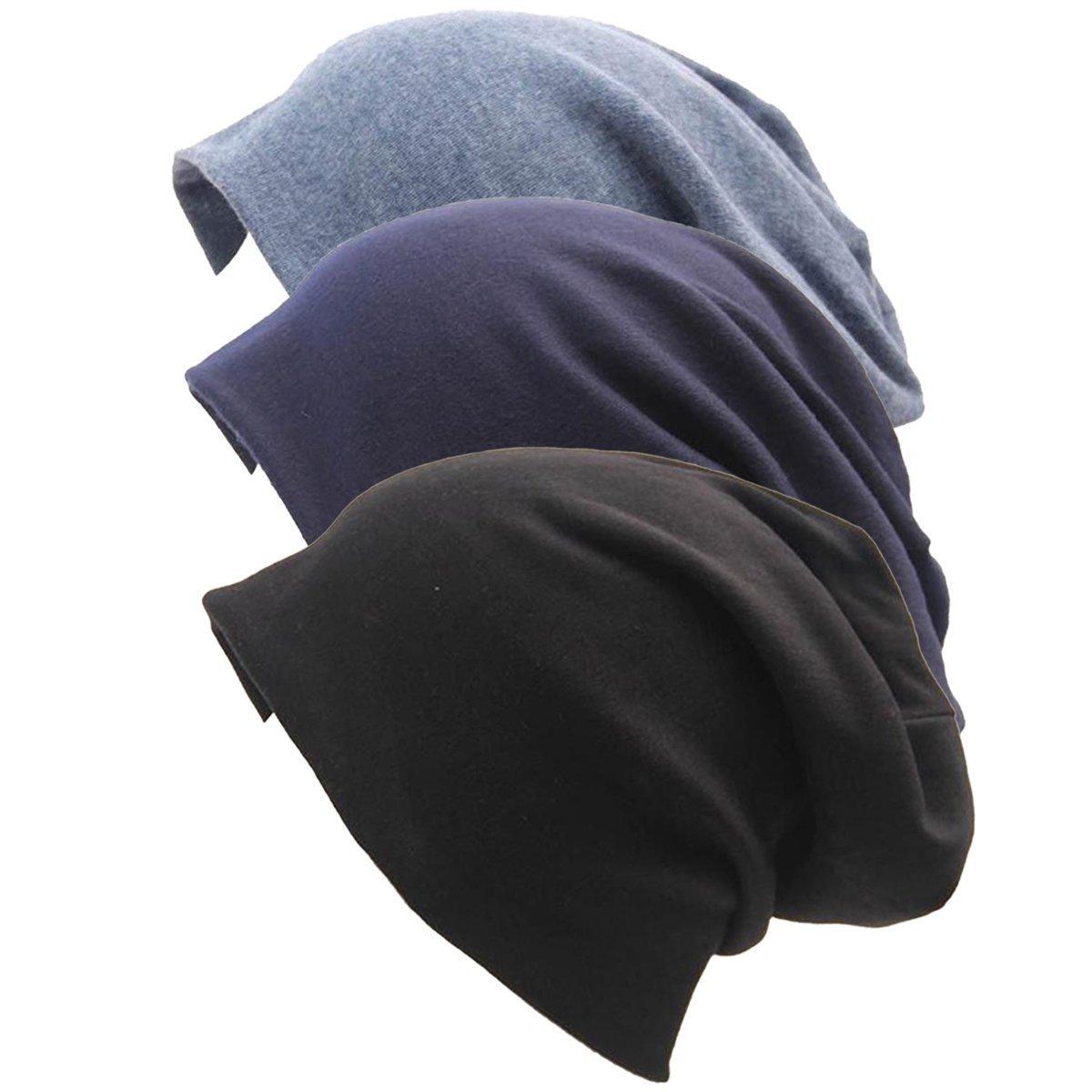 Zando Women Men Cotton Chemo Hat Soft Sleep Lightweight Beanie Unisex Skull Cap for Cancer 3 Pack Black Demin Navyblue One Size