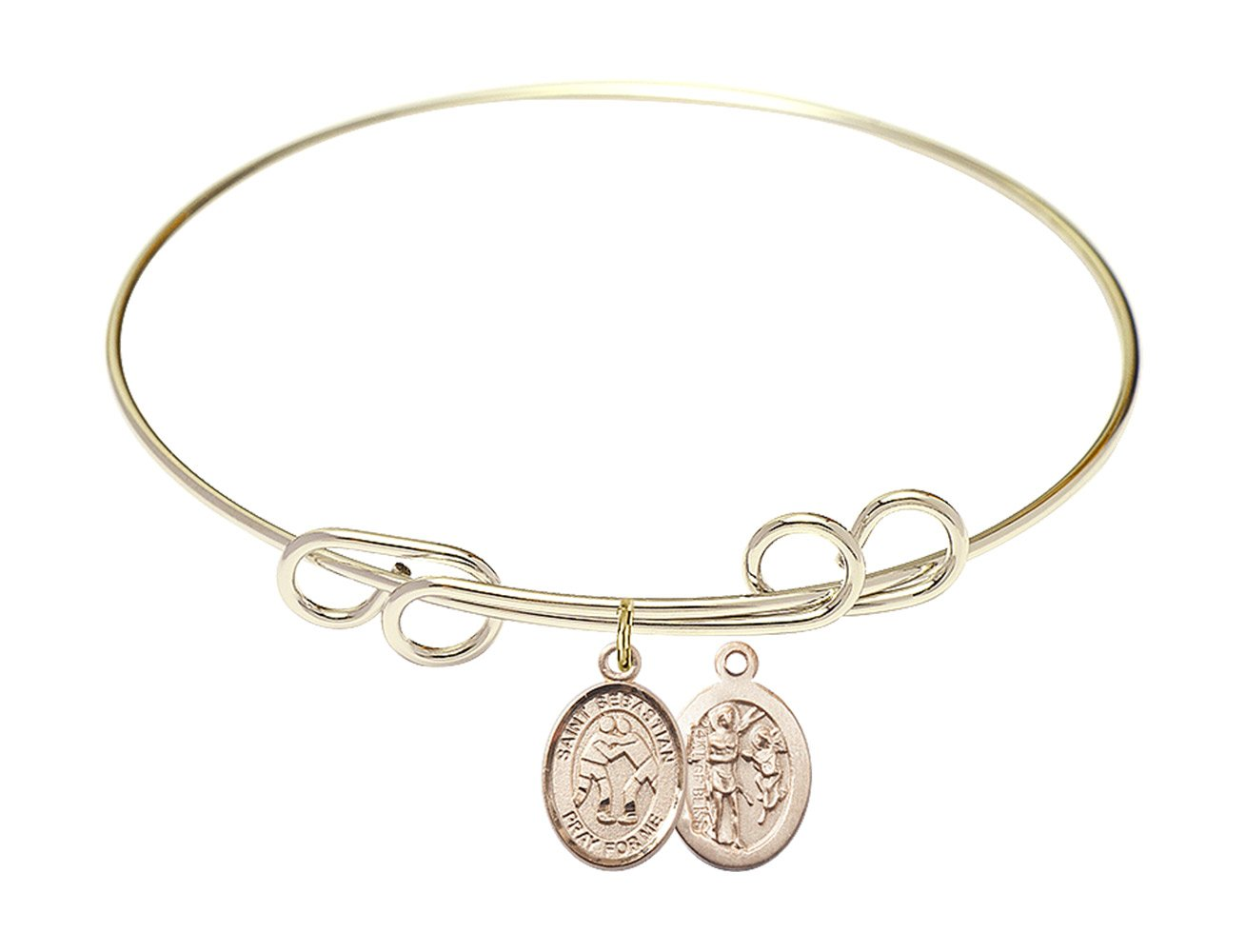 8 inch Round Double Loop Bangle Bracelet with a St. Sebastian/Wrestling charm.