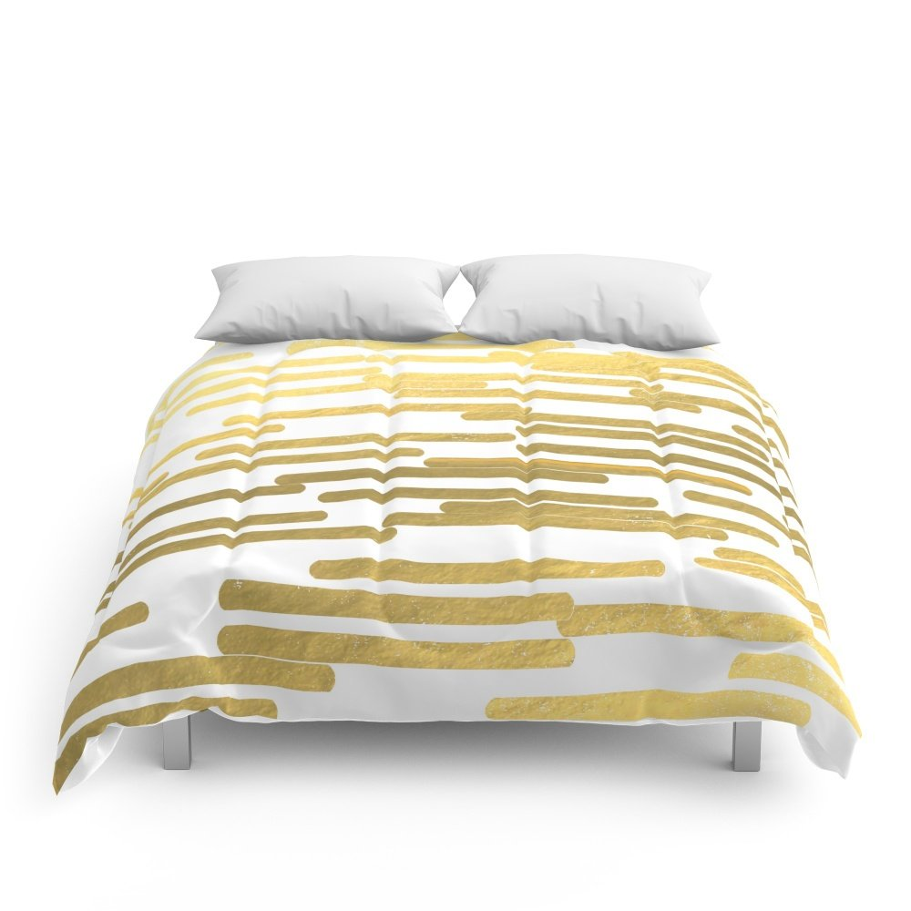Society6 Gold Bars - Trendy Hipster Gold Foil Shiny Sparkle Gilded Gold Bars Money Art Print Phone Case Comforters Queen: 88'' x 88''