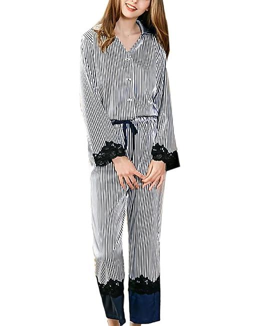 Aden Mujer Cómodo 2 Piezas Pijama Satén Camiseta Raso Manga Larga Raya Ropa Dormir: Amazon.es: Ropa y accesorios