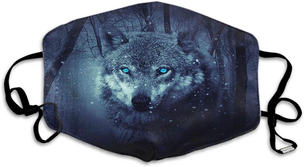 F Wolf Máscara de lobos salvajes con ojos azules en el bosque, campo de nieve, copo de nieve, unisex, reutilizable, lavable, poliéster antipolvo, para hombres y mujeres al aire libre