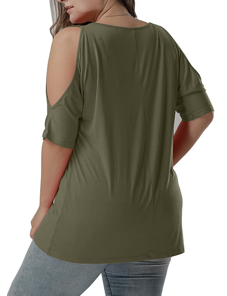 732877e250769e Allegrace Women Plus Size V Neck Short Sleeve Batwing Top Cold Shoulder T  Shirt at Amazon Women's Clothing store: