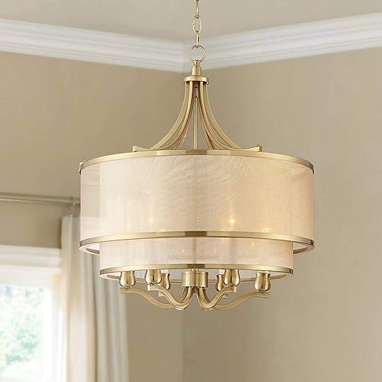 Nor Antique Brass Pendant Chandelier 23″ Wide Modern Double White Organza 6-Light Fixture