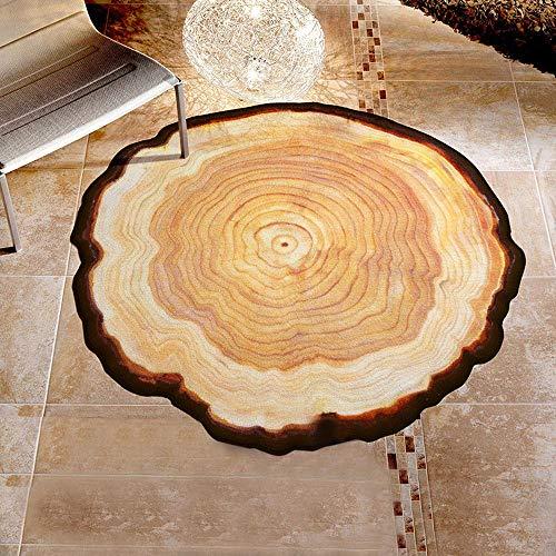 Tuscom Anti-Skid Rock Floor Rug Round Carpet Annual Ring Printing Mat,for Living Room Den Bedroom Decorative Carpet,Baby Crawling Mat(8 Colors) (Yellow, M)