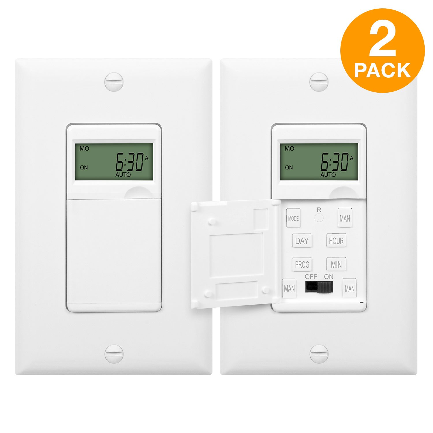 ENERLITES Programmable Timer Switch Digital Timer Switch for Lights, Fans, Motors, Timer in wall, 7-Day 18 ON/OFF Timer Settings, NEUTRAL WIRE REQUIRED, HET01-C, White, 2 Pack
