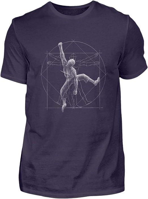 Shirtee Vitruvian Hombre Escalada - para Todos los escaladores y búlderes – Freeclimbing - Camiseta de Hombre
